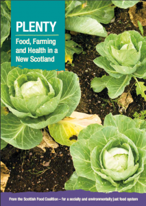 Cover picture of the Scottish Food Coaltion's PLENTY report, picturing a row of ripe cabbages