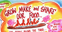 "Detail of graphic recording entitled ""Grow make and share our food"""