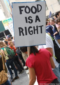 Placard reading 'Food is a Right'