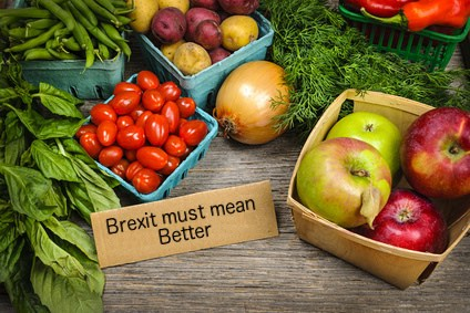 "Fruit and veg with label ""Brexit must mean better"""
