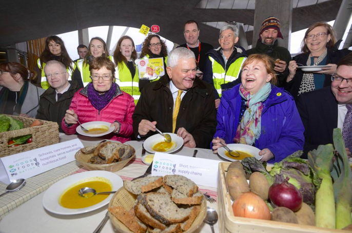 Food bank managers, Campaigners, Farmers and MSPs break bread in celebration of the right to food