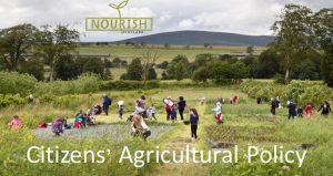 Families visiting a farm. Illustration for Nourish's Citizens' Agricultural Policy Campaign